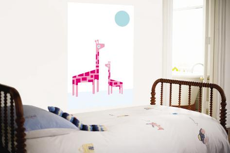 White Giraffe Wall Mural