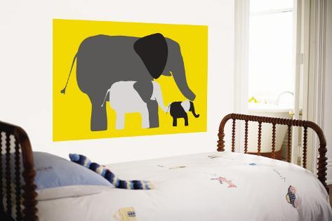 Yellow Elephants Wall Mural