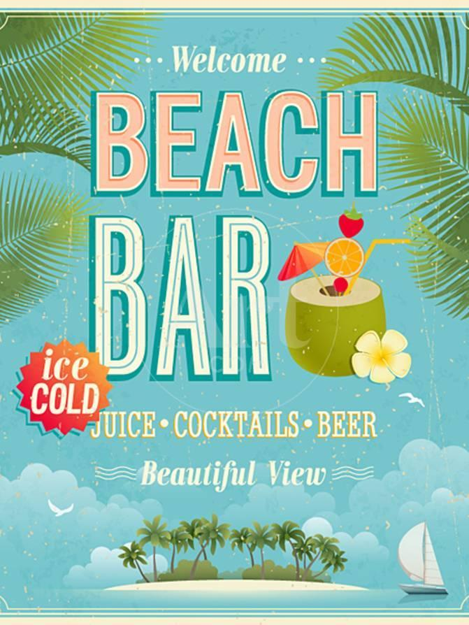 Vintage Beach Bar Poster Posters