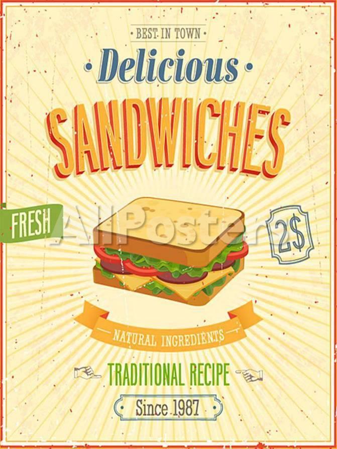 Vintage Sandwiches Poster Póster por avean en AllPosters.es