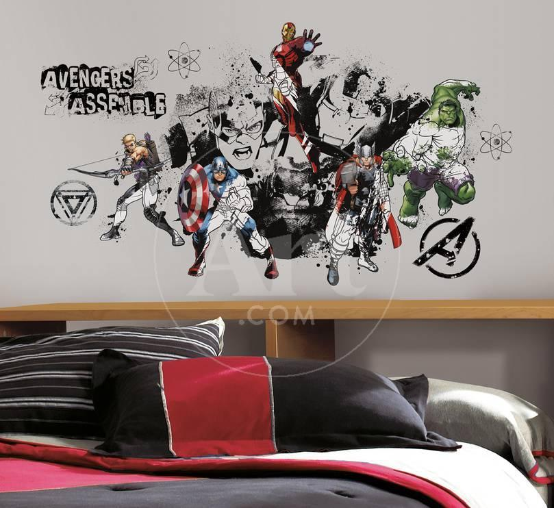 Avengers Assemble Black & White Graphic Peel & Stick Wall Decals ...