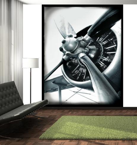 Aviator aeroplane deco wall mural wallpaper mural for Poster mural zen deco