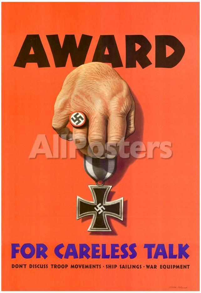 Award For Careless Talk Anti Nazi Wwii War Propaganda Art Print Poster Posters Allposters Com