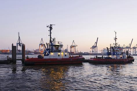 Boats, Pilots, Tugboat, Waiting for Mission, NeumŸhlen Photographic Print