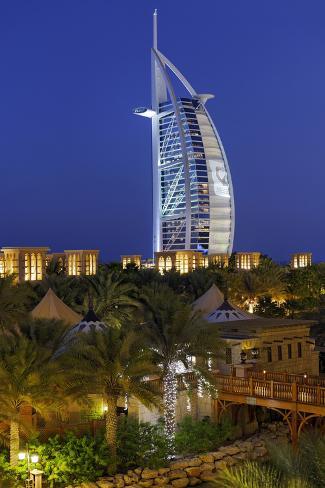 Burj Al Arab and Medinat Hotels, 7 Stars Hotel, Jumeirah, Dubai, United Arab Emirates Photographic Print