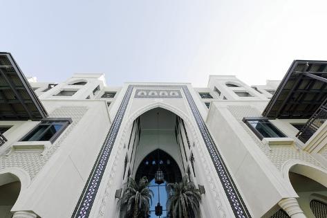 Burj Khalifa and Souk Al Bahar, Downtown Dubai, Dubai, United Arab Emirates Photographic Print
