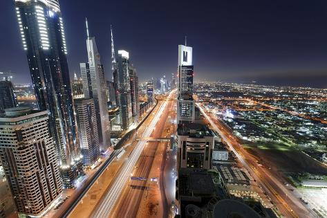 Centre of Dubai City, Panorama, Skyline, Evening Mood at Persian Gulf, Traffic Photographic Print