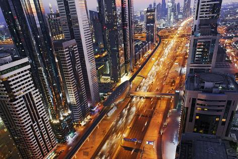 Centre of Dubai City, Panorama, Skyline, Evening Mood at Persian Gulf, Traffic Photographic Print