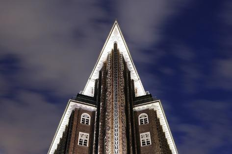 Chilehaus (Chile House) by Night, Architecture, Detail, Hamburg, Germany, Europe Photographic Print