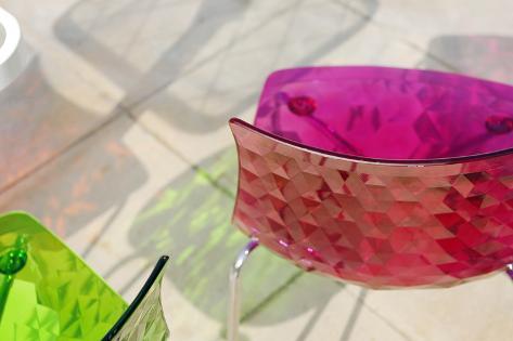 Colourful Plastic Chairs, Al Qasba, Emirate of Sharjah, United Arab Emirates, Arabian Peninsula Photographic Print