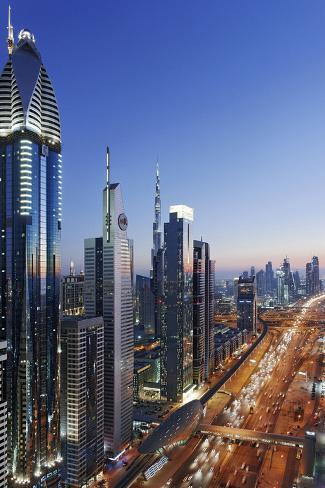 Downtown Dubai, Panorama, Skyline, Evening Mood at the Persian Gulf, Traffic Photographic Print