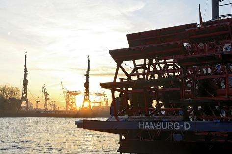 Evening Mood at Hamburg Harbour, Hamburg, Germany, Europe Photographic Print