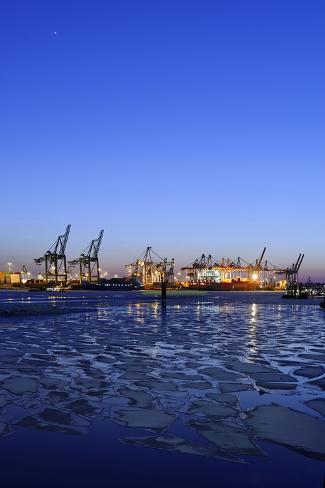 Floating Ice on the Elbe River, Harbour Cranes, Dusk, Evening Mood, NeumŸhlen Photographic Print