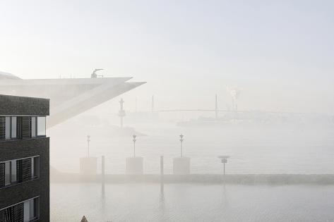 Ground Fog Above the Elbe, Bizarre, Unusual, Elbberg Campus, Altona Photographic Print