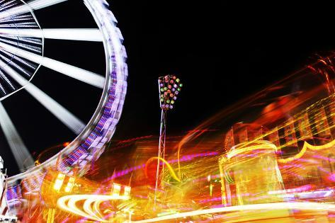 Hamburg Dom, Carousel, Amusement Ride, Motion, Dynamic Photographic Print