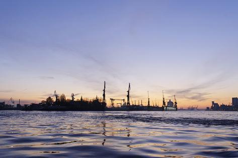 Harbour Cranes, Docks, Evening Mood, St. Pauli Piers, Hanseatic City Hamburg, Germany Photographic Print