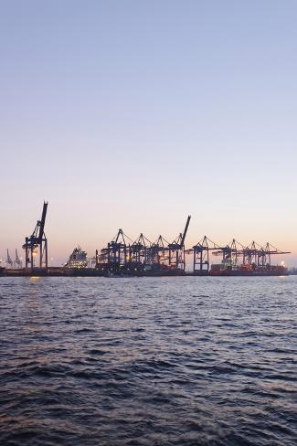 Harbour Cranes, Waltershof, Evening Mood, Harbour, Hanseatic City of Hamburg, Germany Photographic Print