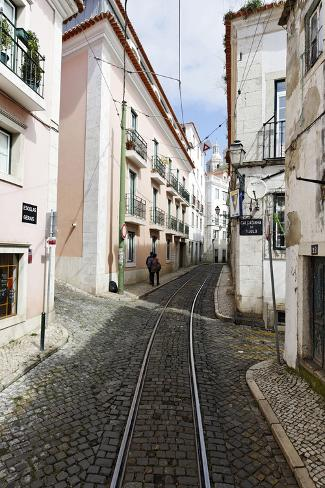 Historical Streetcar in the Alfama District, Lisbon, Portugal Photographic Print