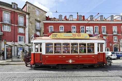 Historical Streetcars in the Alfama District, Lisbon, Portugal Photographic Print