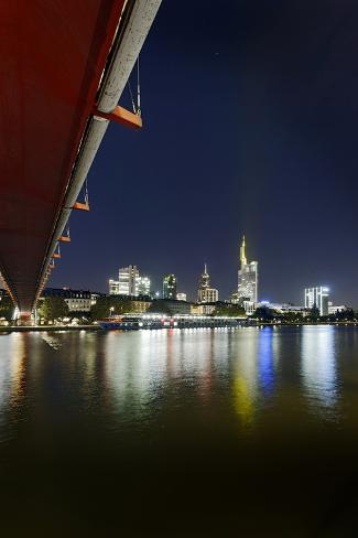 Holbeinsteg, Footbridge, Skyline Banking District, Frankfurt on the Main, Hessen, Germany Photographic Print