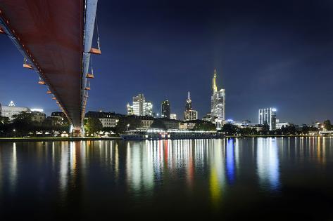 Holbeinsteg, Footbridge, Skyline Banking District, Frankfurt on the Main, Hessen, Germany Photographic Print