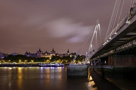Hungerford Foot Bridge across the Thames, Whitehall Court, Westminster, the Thames, at Night Photographic Print