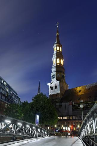 JungfernbrŸcke, Illuminated St. Catherine's Church, Speicherstadt Photographic Print