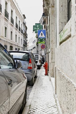 Lane, Cars, Narrow Footpath, Lisbon, Portugal Photographic Print