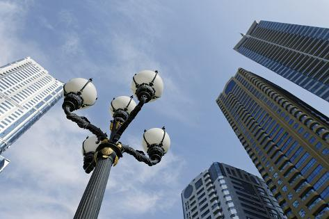 Lantern and Tower Blocks Skyward, Architecture, Entertainment District Photographic Print