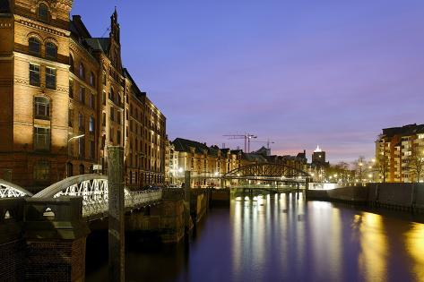 Lighting of the Historical Speicherstadt (City of Warehouses) with Canal, Bei Den MŸhren Area Photographic Print