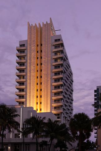 Loews Hotel and Royal Palms at Dusk, Collins Avenue, Miami South Beach, Art Deco District, Florida Photographic Print