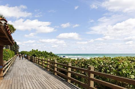 Miami Boardwalk, Wooden Jetty for Strolling from 23 St. to the Indian Beach Park in 44 St., Florida Photographic Print