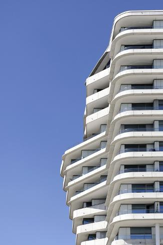 Modern Architecture Marco Polo Tower in the Hafencity, Hanseatic City of Hamburg, Hamburg, Germany Photographic Print