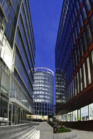 Modern Architecture, Wide Angle, Coffee Plaza, Hafencity, Hanseatic City of Hamburg, Germany Photographic Print