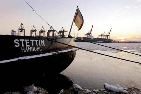 Museum Ship 'Stettin', Floes Floating on the Elbe, …velgšnne Museum Harbour Photographic Print