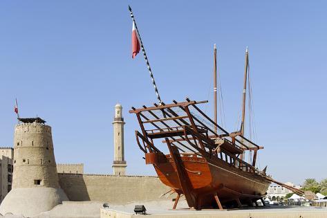Old Merchant Ship in Front of Dubai Museum, Deira, Dubai, United Arab Emirates Photographic Print