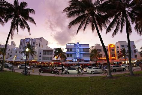 Panorama of the Art Deco Hotels, Ocean Drive at Dusk, Miami South Beach, Art Deco District, Florida Photographic Print