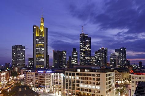 Panorama View on the Skyline of Frankfurt at Dusk, Hauptwache, Hessen Photographic Print