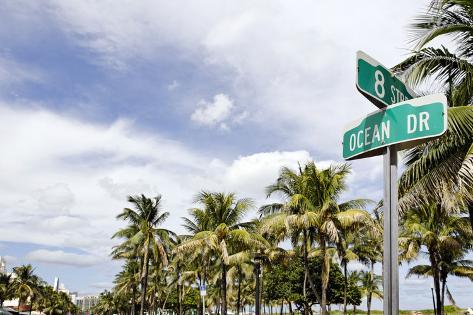 Road Sign 'Ocean Dr' Corner 8 St, Lummus Park, Ocean Drive, Miami South Beach, Art Deco District Photographic Print
