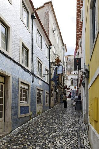 Sintra, Narrow Alley, Houses with Decorated Walls, Unesco-World Cultural Heritage, Lisbon, Portugal Photographic Print