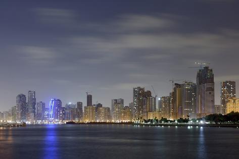 Skyline, Corniche Street, Emirate of Sharjah, United Arab Emirates, Arabian Peninsula Photographic Print