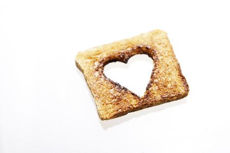 Toast with Blanked Out Heart, Cut Out, Studio Photographic Print