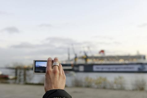 Tourist Taking a Photo of Queen Mary 2 in the Dry Dock, Detail, Fish Market Photographic Print