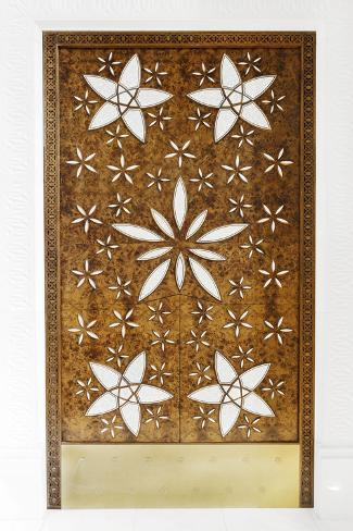 Wooden Door with Ornaments, Sheikh Zayed Bin Sultan Al Nahyan Mosque, Al Maqtaa Photographic Print