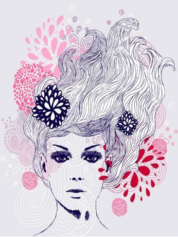 Abstract Beautiful Hand-Drawn Woman Art Print