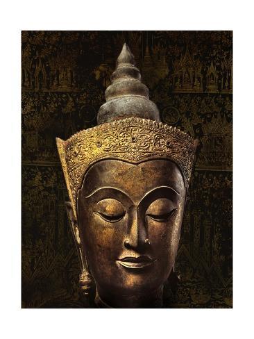 Ayutthaya Style Head of a Crowned Buddha Image Stretched Canvas Print