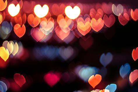 Abstract Love or Heart Shape Bokeh Background of Town in Malaysia Photographic Print
