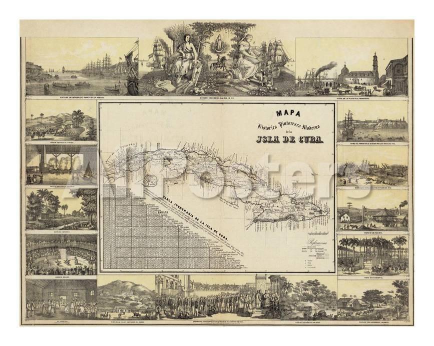Mapa Historico Pintoresca Moderno de al Isla De Cuba, c.1853 Láminas ...