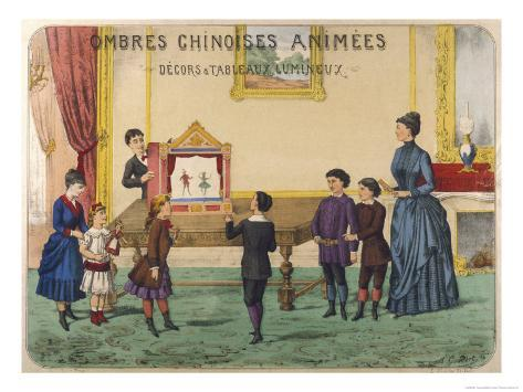Boy Demonstrates a Toy Theatre to His Brothers Sisters and Mother Impressão giclée