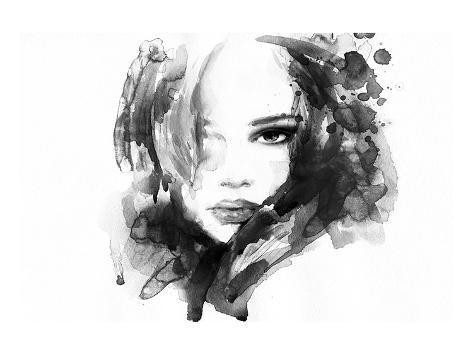 B&W Woman Face Illustration Art Print